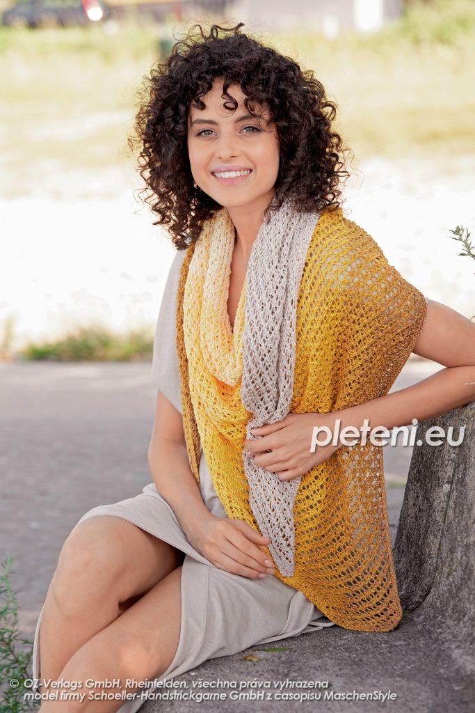 2020-L-13 pletený dámský šátek z příze Fantasy Colours značky Austermann