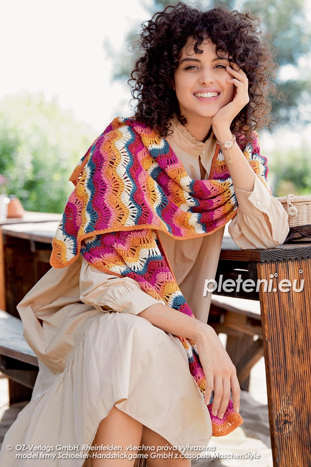 2020-L-15 háčkovaný dámský šátek z příze Merino Cotton značky Austermann