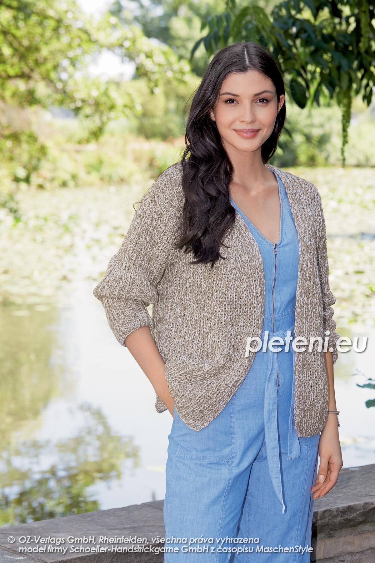 2020-L-18 pletený dámský kabátek z příze Merino Cotton značky Austermann