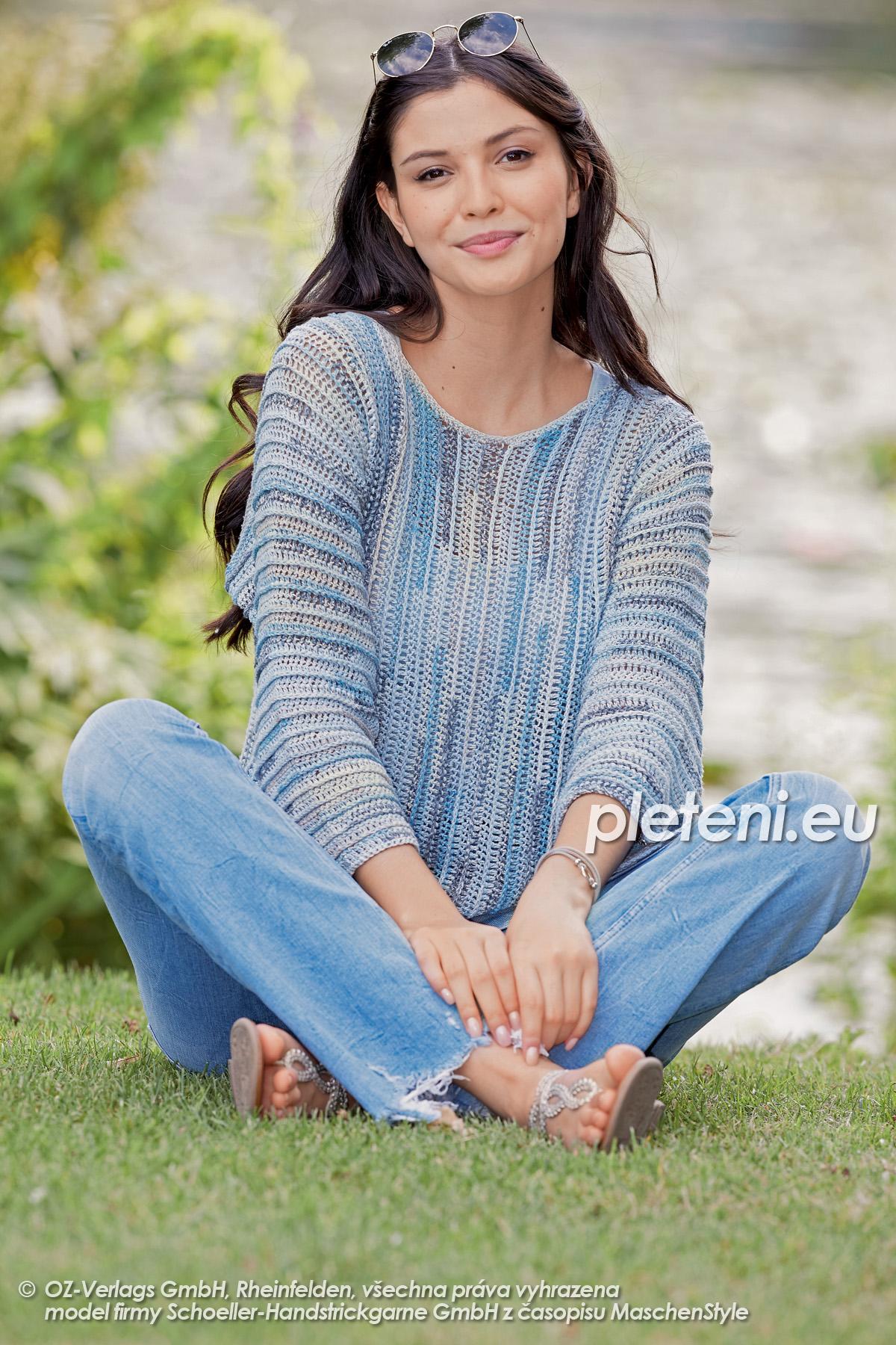 2020-L-19 háčkovaný dámský svetr z příze Magic Silk Color značky Austermann
