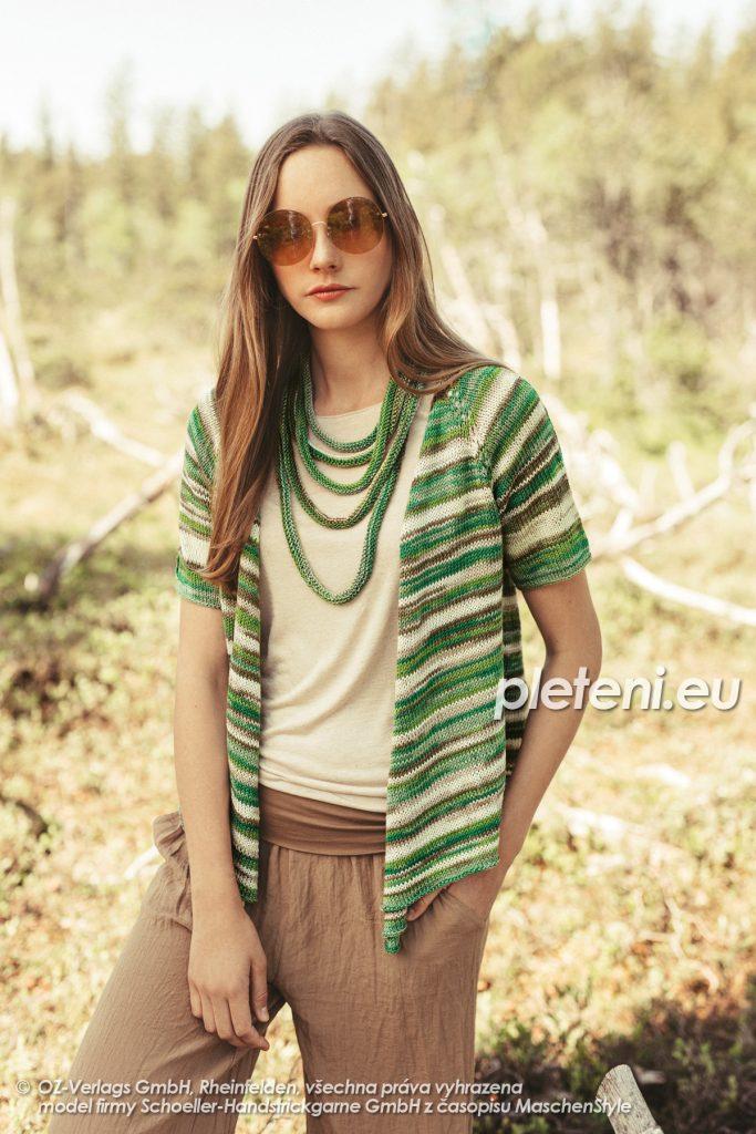2020-L-34-35 pletený dámský kabátek a náhrdelník z příze Limone Color značky Schoeller+Stahl