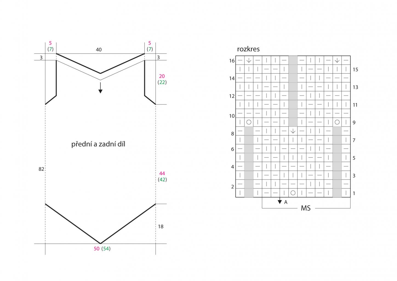 2020-L-44 střih a rozkres - pletený top z příze Limone značky Schoeller+Stahl