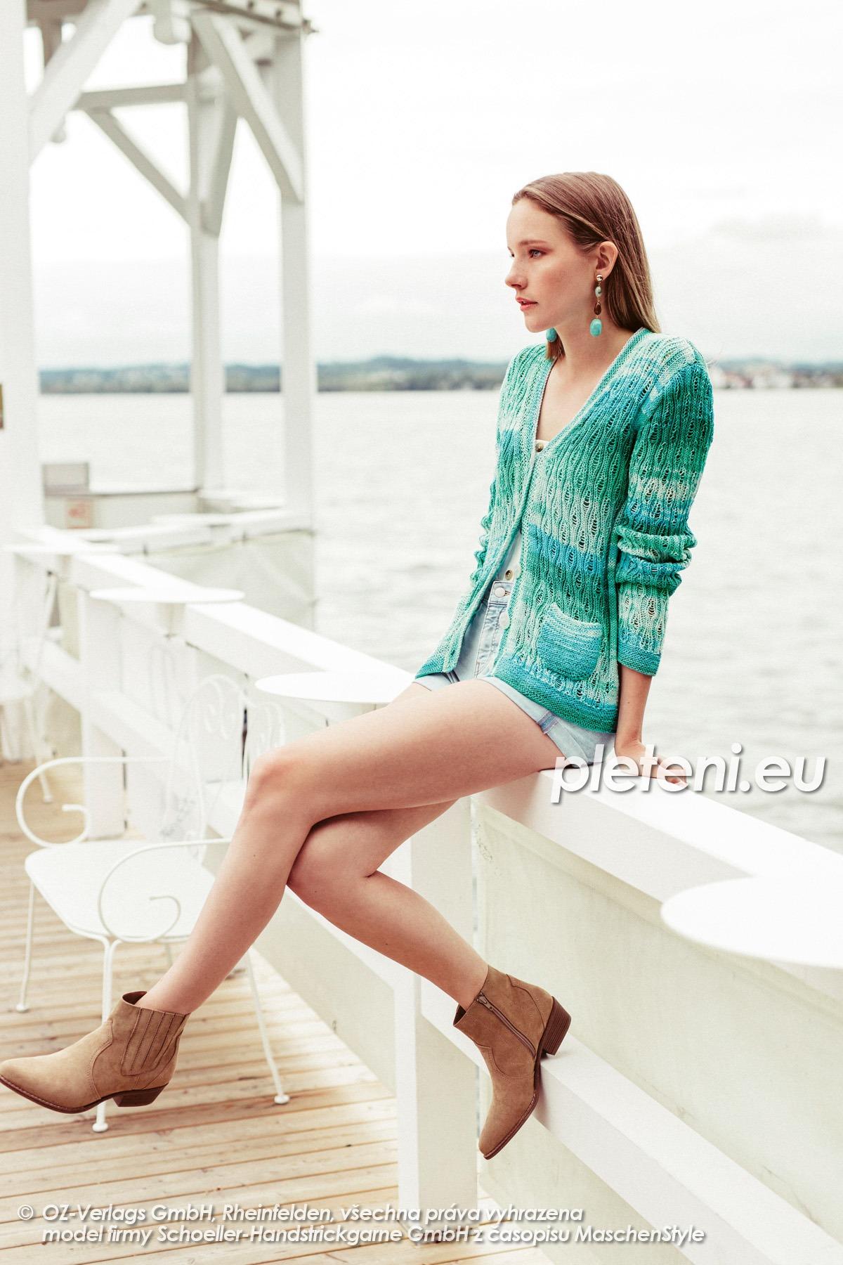 2020-L-48 pletený dámský kabátek z příze Limone Color značky Schoeller+Stahl