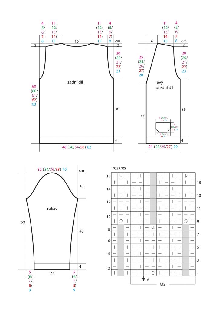 2020-L-48 střih a rozkres - pletený dámský kabátek z příze Limone Color značky Schoeller+Stahl