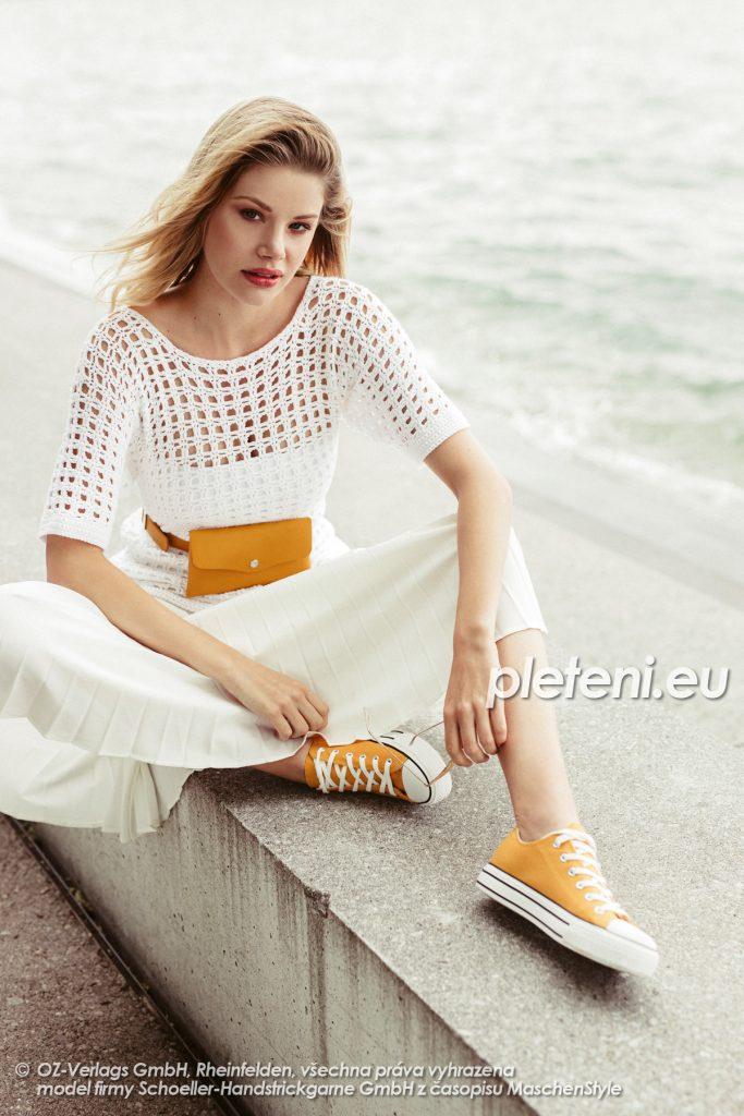 2020-L-50 háčkovaný dámský svetr z příze Limone značky Schoeller+Stahl