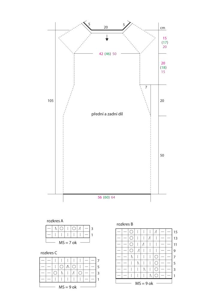 2020-L-51 střih a rozkres - pletené šaty z příze Limone Color značky Schoeller+Stahl