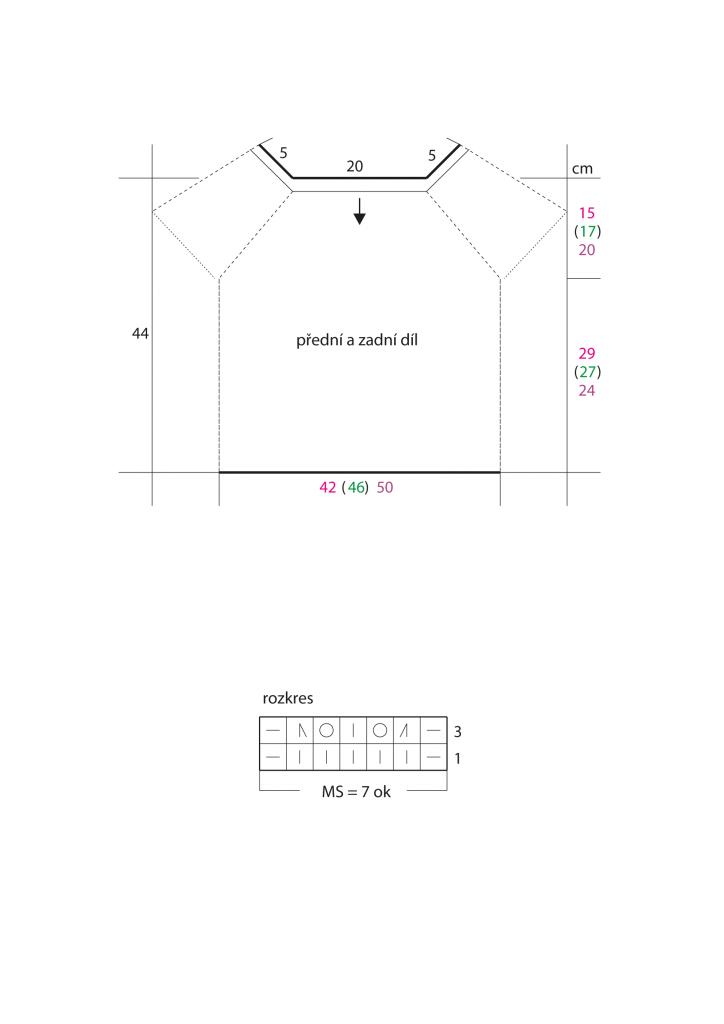 2020-L-53 střih a rozkres - dámský svetr z příze Limone značky Schoeller+Stahl
