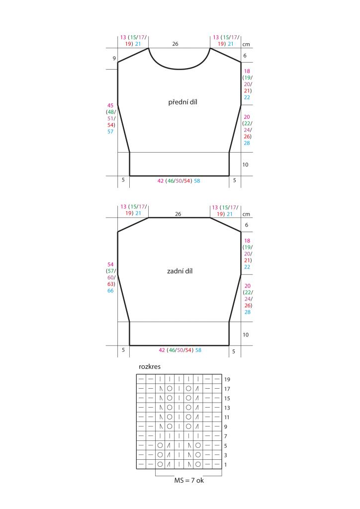 2020-L-54 střih a rozkres - dámský svetr z příze Limone značky Schoeller+Stahl