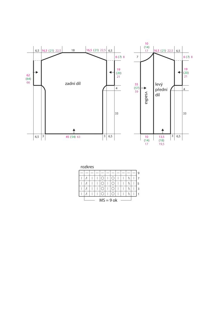 2020-L-55 střih a rozkres - pletený dámský kabátek z příze Limone značky Schoeller+Stahl
